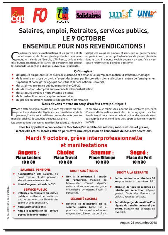 9bdb367a845 Appel CGT – FO – FSU – Solidaires – Unef – Unl au 9 octobre – Maine et Loire